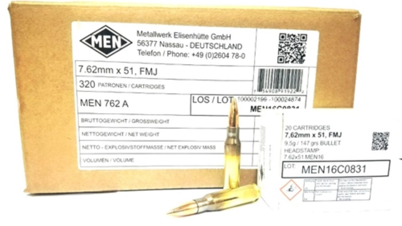 Magtech MEN 7 62x51mm NATO Ammo 150 Grain Full Metal Jacket